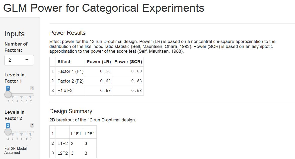 Categorical GLM power application
